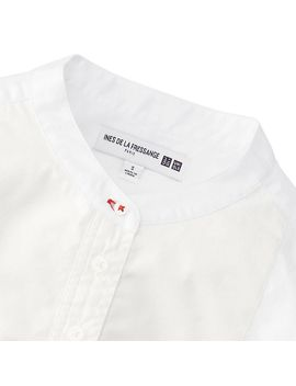 women-idlf-tuxedo-stand-collar-long-sleeve-shirt by uniqlo