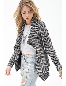 chevron-knit-zippered-cardigan by forever-21