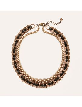 leather-woven-pearlized-necklace by loft
