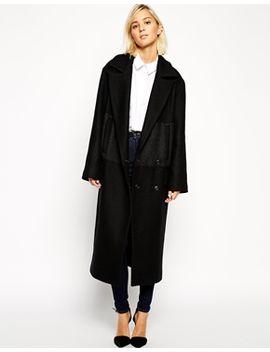 asos-white-stripe-panel-longline-coat by asos-white