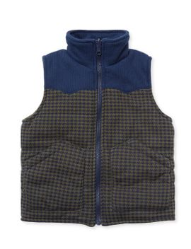 quilted-houndstooth-puffy-vest by kapital-k