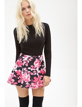 floral-scuba-knit-skirt by forever-21