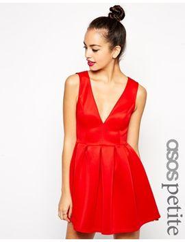 asos-petite-debutante-mini-dress-with-v-neck-in-scuba by asos-petite