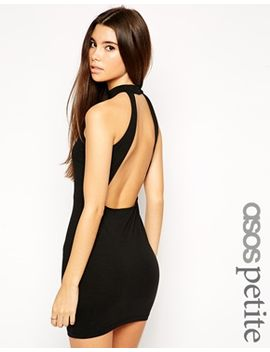 asos-petite-exclusive-mini-dress-with-high-neck-and-cut-out-back by asos-petite