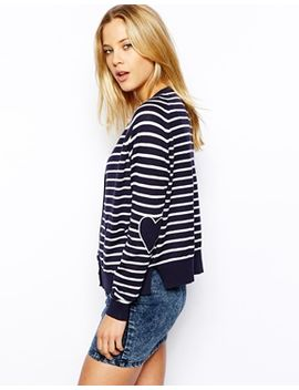 asos-cardigan-in-stripe-with-heart-elbow-patch by asos-collection