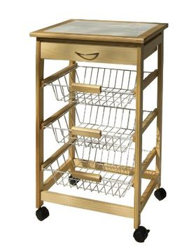 organize-it-all-natural-pinewood-rolling-kitchen-cart-with-3-wire-baskets-and-pull-out-drawer by organize-it-all