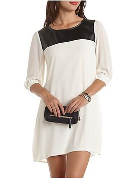 faux-leather-trim-shift-dress by charlotte-russe