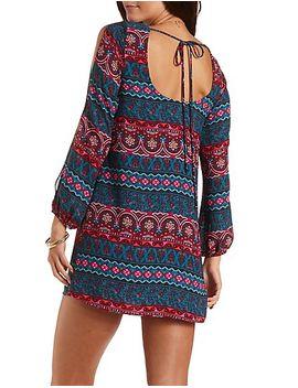 boho-print-cold-shoulder-shift-dress by charlotte-russe