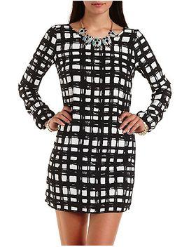 windowpane-print-shift-dress by charlotte-russe