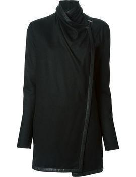 funnel-neck-off-center-fastening-draped-jacket by helmut-lang