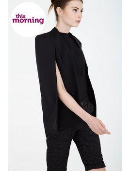 black-collarless-cape-blazer by lavish-alice