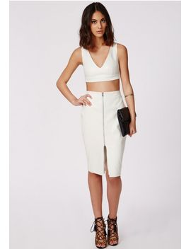 snake-embossed-zip-front-faux-leather-midi-skirt-white by missguided