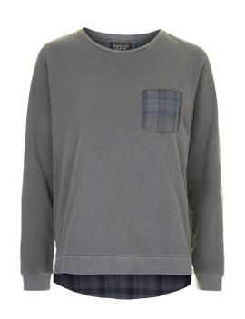 checked-hybrid-sweat by topshop