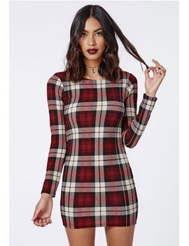 jacey-stretch-crepe-tartan-bodycon-dress-red by missguided