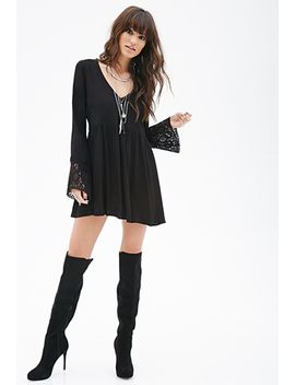 crochet-sleeve-babydoll-dress by forever-21