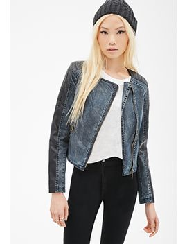 faux-leather-paneled-denim-jacket by forever-21