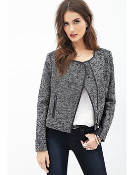 faux-leather-paneled-tweed-jacket by forever-21