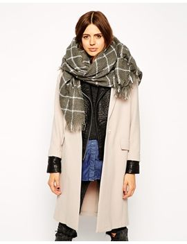 asos-oversized-grid-check-open-weave-square-scarf by asos-collection