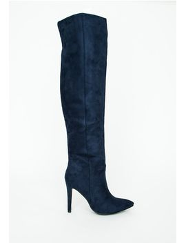 knee-high-stiletto-heeled-boots-navy by missguided