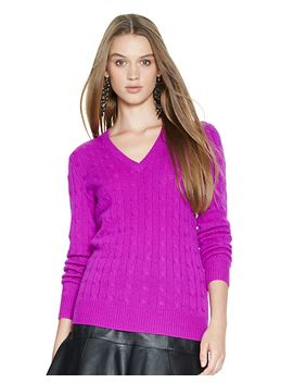 cabled-cashmere-v-neck-sweater by ralph-lauren