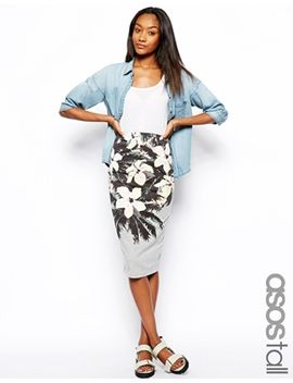 asos-tall-pencil-skirt-in-hawaiian-print by asos-tall