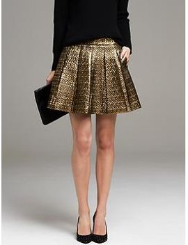 gold-box-pleat-skirt by banana-repbulic