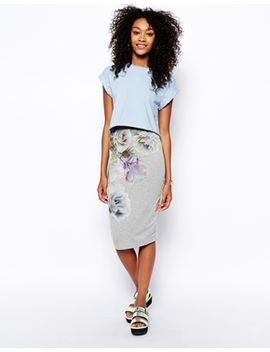asos-pencil-skirt-in-photographic-floral by asos-collection