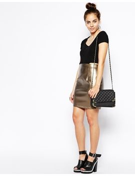 poppy-lux-lorena-pu-metallic-skirt by skirt