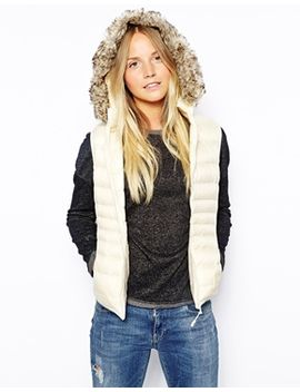puffa-hooded-vest-with-faux-fur-trim by puffa