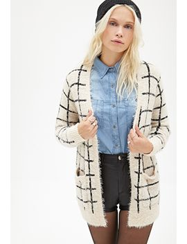 fuzzy-knit-windowpane-cardigan by forever-21