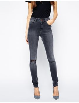 asos-ridley-skinny-jeans-in-slick-gray-with-ripped-knee by asos-collection