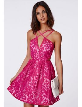 fern-lace-organza-skater-dress-fuchsia by missguided