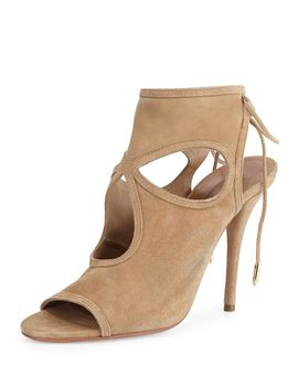 sexy-thing-suede-cutout-sandal,-nude by aquazzura