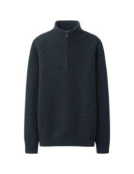 men-lambs-blend-rib-half-zip-sweater by uniqlo
