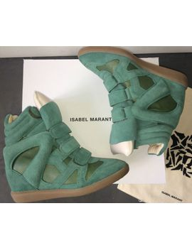 $730-isabel-marant™-green-suede-leather-burt-wedge-sneakers-high-tops-40-current by ebay-seller