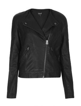 collarless-faux-leather-biker-jacket by topshop