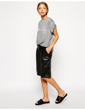 asos-longline-shorts-in-leather-look by asos-collection