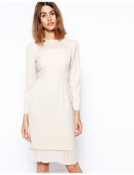 asos-white-long-sleeve-panel-shift-dress by asos-white