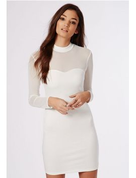 janis-mesh-sleeve-bodycon-dress-ivory by missguided