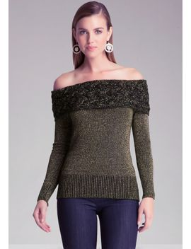 cable-shoulder-sweater by bebe