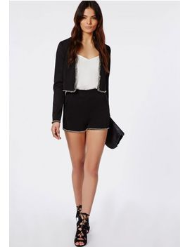 chain-trim-high-waisted-shorts-black by missguided