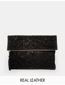 asos-suede-embossed-foldover-clutch-bag by asos-collection