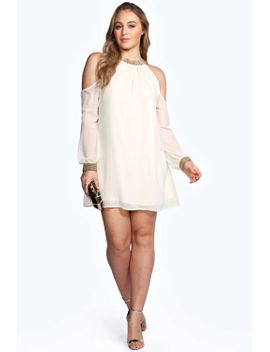 alex-embellished-neckline-open-shoulder-dress by boohoo