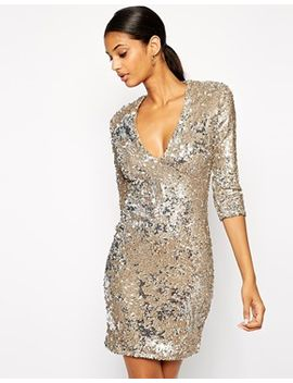 tfnc-body-conscious-sequin-dress-with-deep-plunge-neckline by tfnc