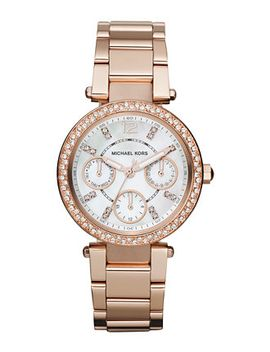 womens-chronograph-mini-parker-rose-gold-tone-stainless-steel-bracelet-watch-33mm-mk5616 by michael-kors