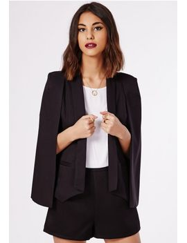 tannya-cape-blazer-black by missguided