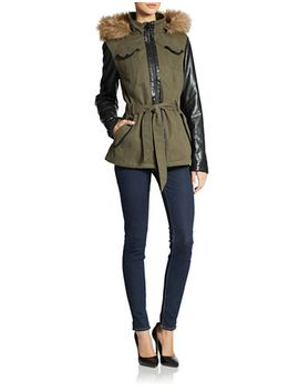 belted-faux-fur-trimmed-military-jacket by william-rast