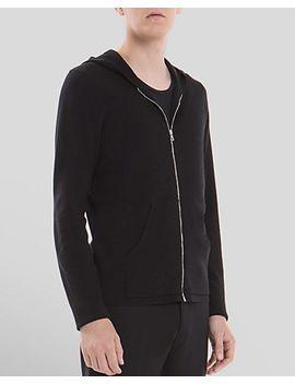 sharp-zip-hooded-cardigan by sandro
