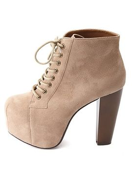 lace-up-wooden-heel-platform-booties by charlotte-russe