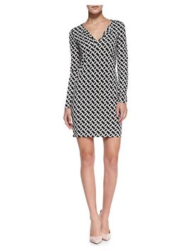 reina-long-sleeve-chain-link-print-dress by diane-von-furstenberg